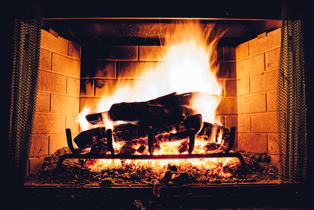 wood fire in fireplace during winter