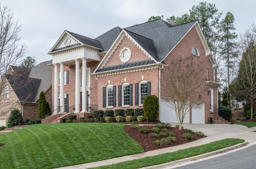 Side entry 3 car garage of home for sale in Cary NC